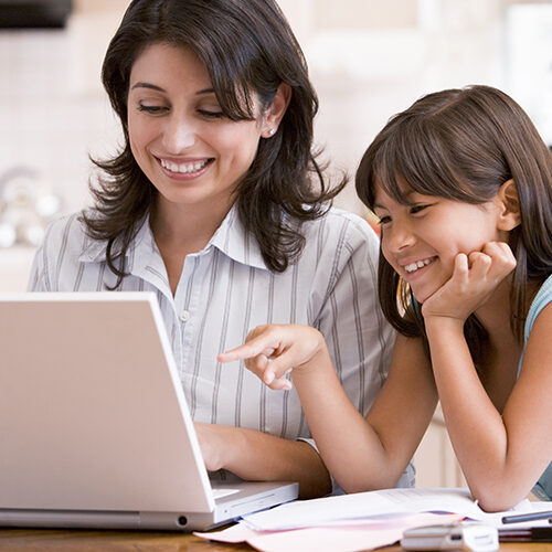 Mom and Daughter at laptop